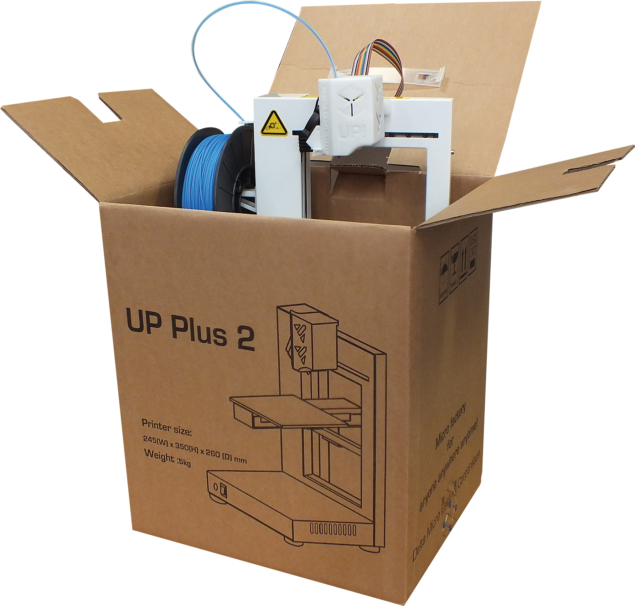 out of the Box the UP Plus 2 3D printer