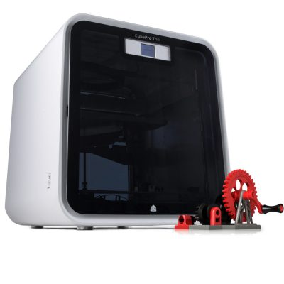 CubePro 3D printer pictured with gear assembly