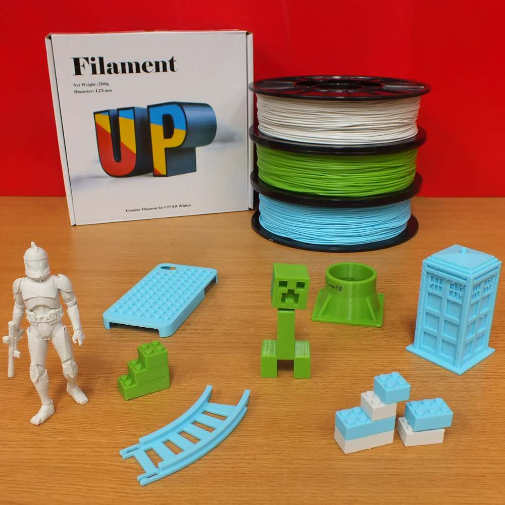 UP 3D printer filament with models