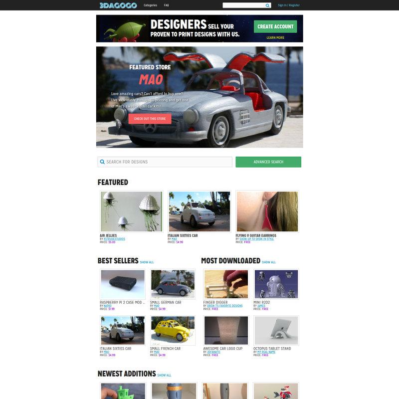 3DAGOGO model file sharing site for 3D printers