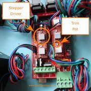3D printer Stepper Drivers showing trim pot