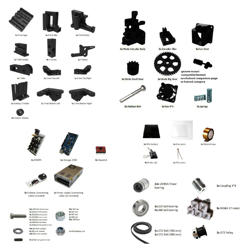 Buying materials for a 3D printer build