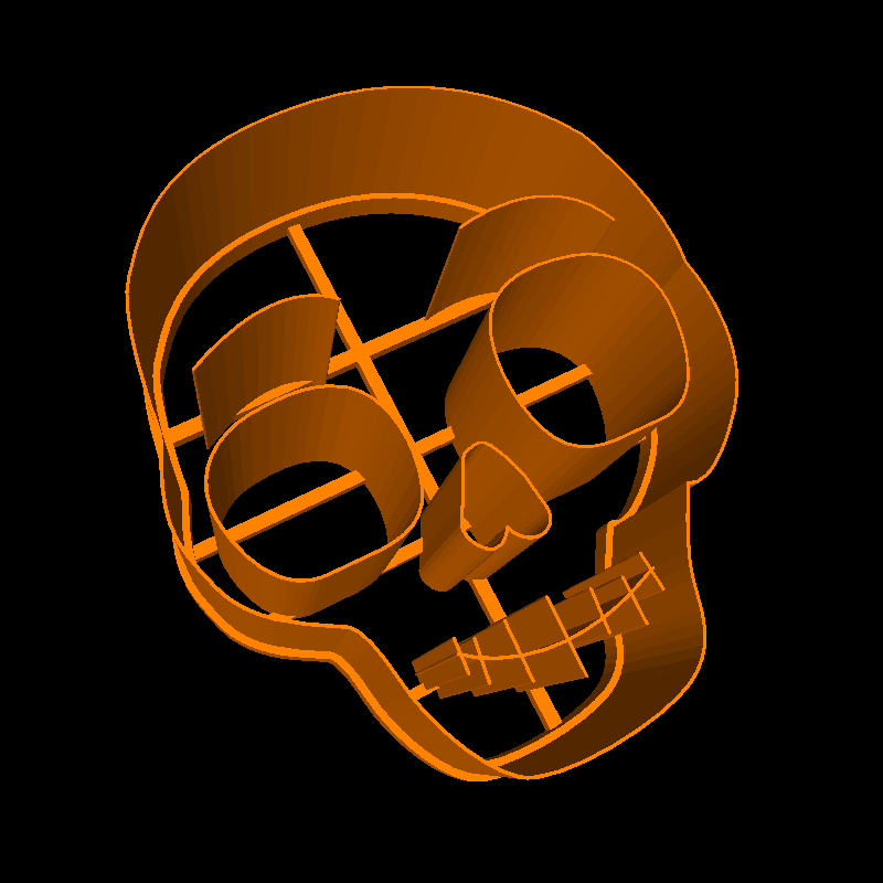 3D printable skull cookie cutter