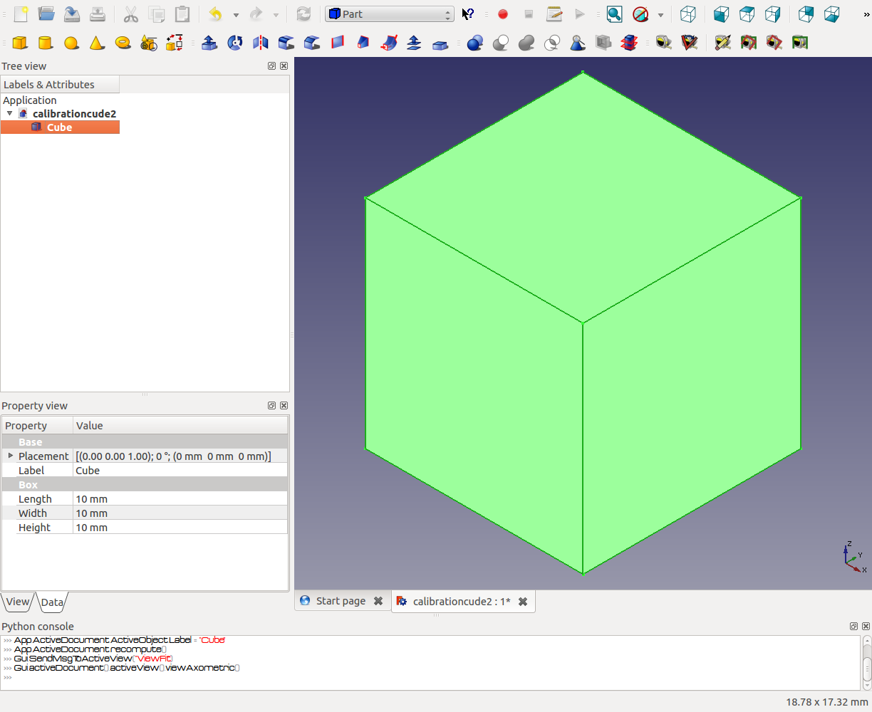 Freecad making a cube for 3D printing