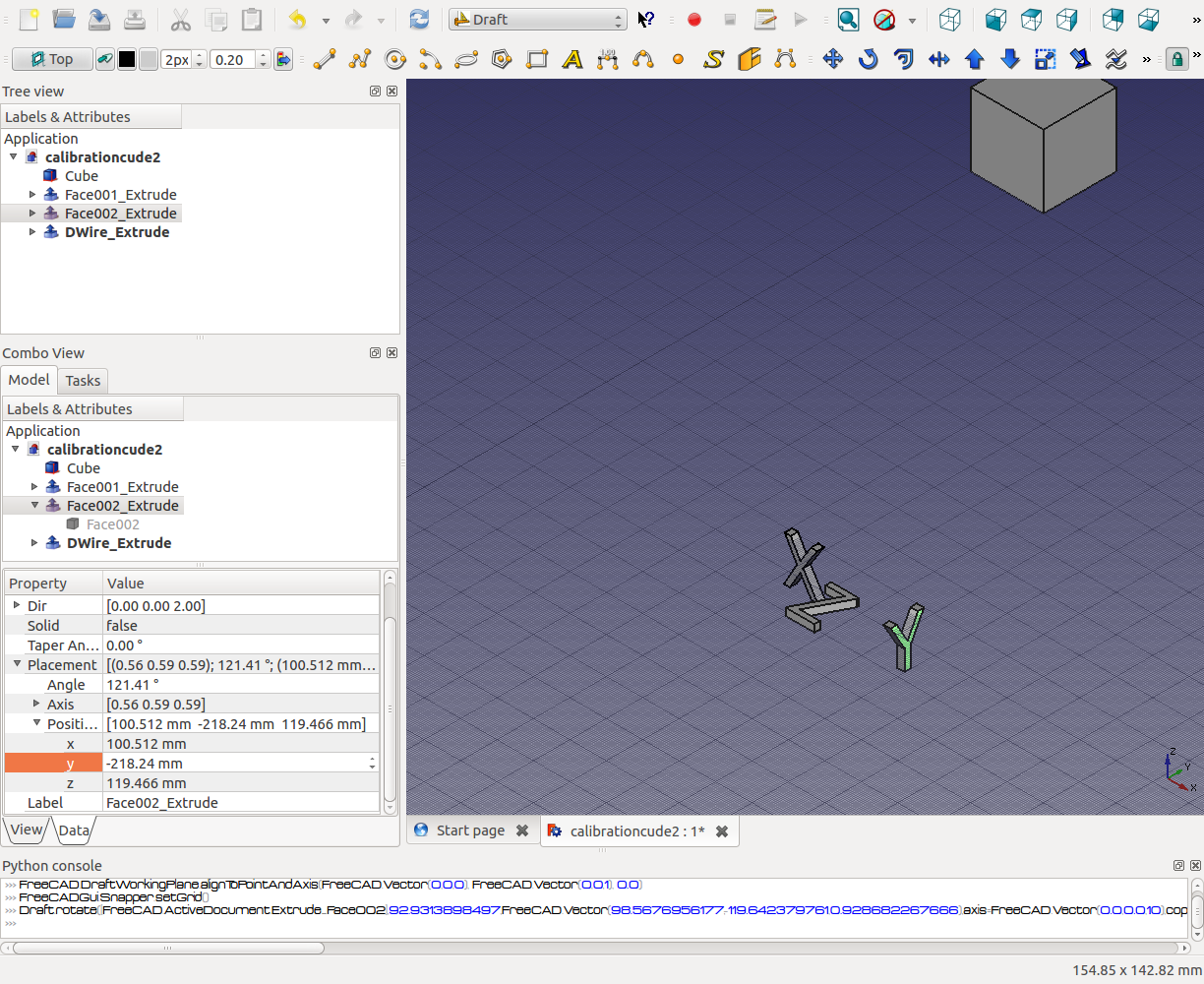 position objects in freecad