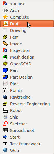 Freecad draft workbench selection