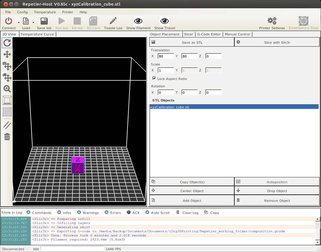 Repetier Host screenshot with calibration cube made in freecad