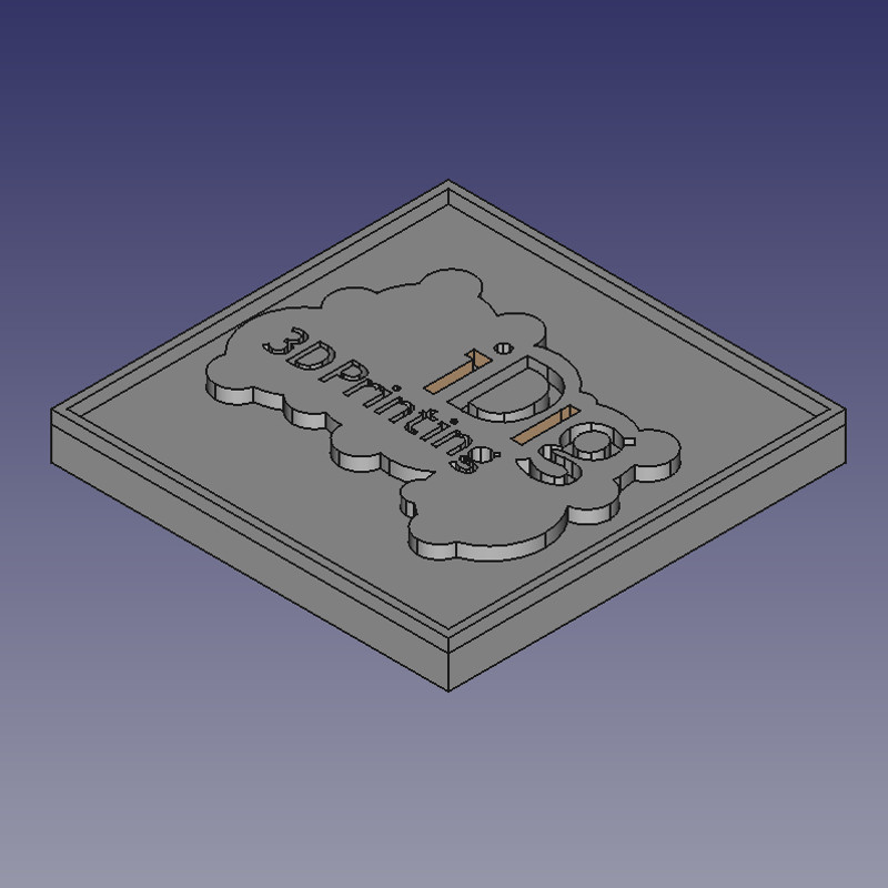 iDIg3Dprinting test plaque created in Freecad