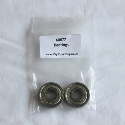 2 pack of 608ZZ Deep Grove Ball Bearings for 3D printers