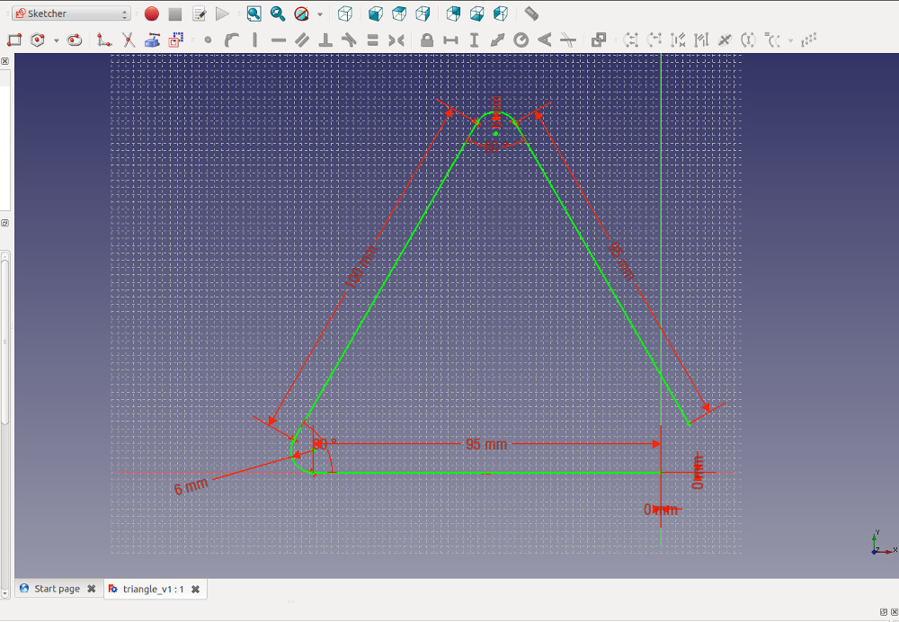Extrusion path for creating a 3D printable triangle in freecad