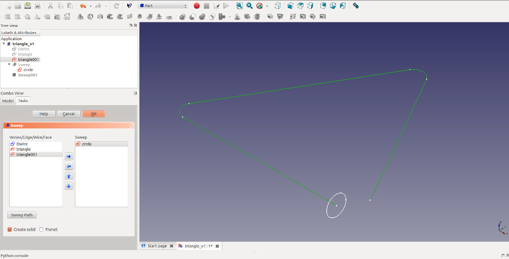 sweeping a shape along a path in Freecad