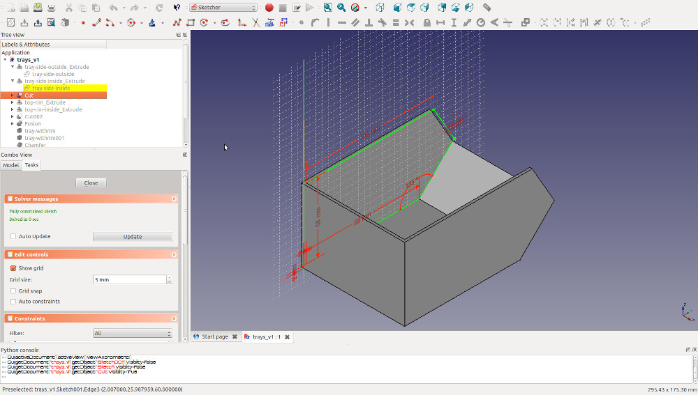 Cut the strogae bin inner and outer solids to create the main 3D printable bin shape