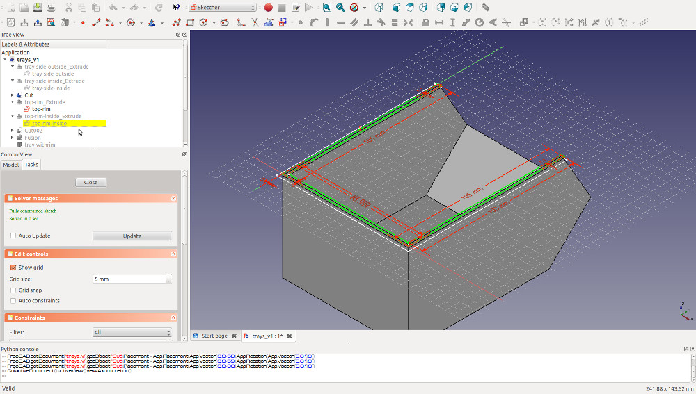sketching the rim for your 3D printable storage box