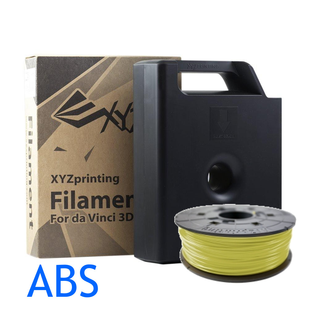 XYZ printing Da Vinci Cyber Yellow ABS filament in a cartridge or as refill