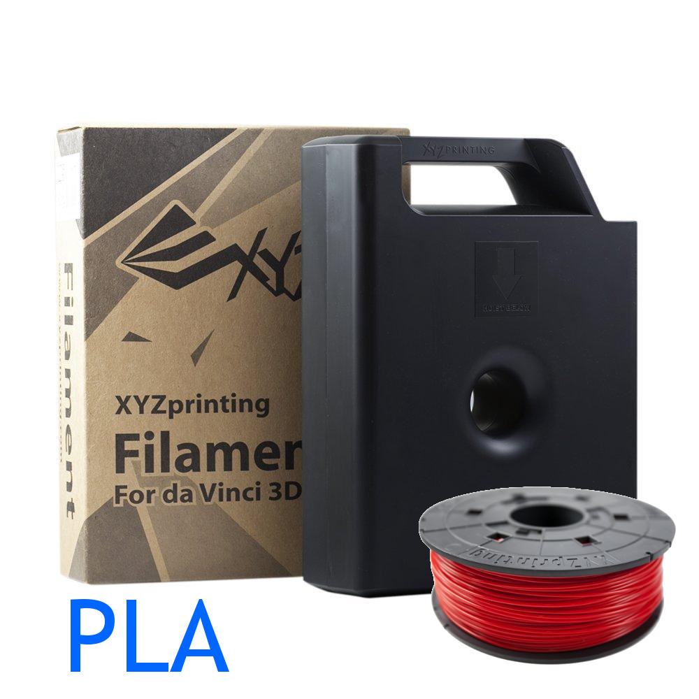 Red Dav Vinci PLA filament cartridge and refill