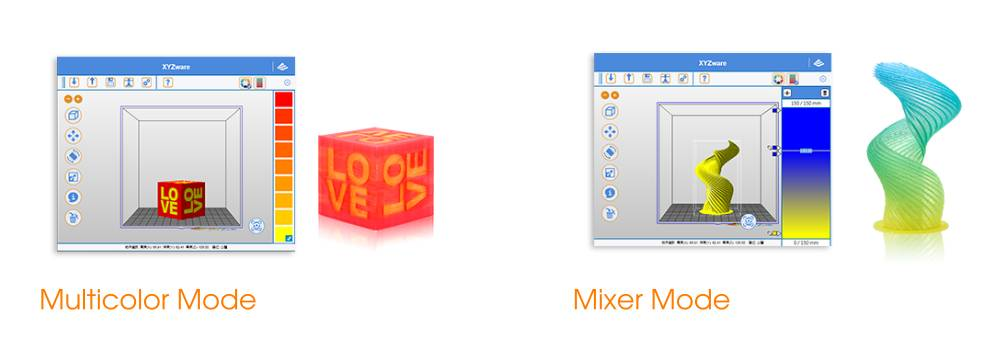 The XYZ Junior Mix has two multicolor 3D printing modes