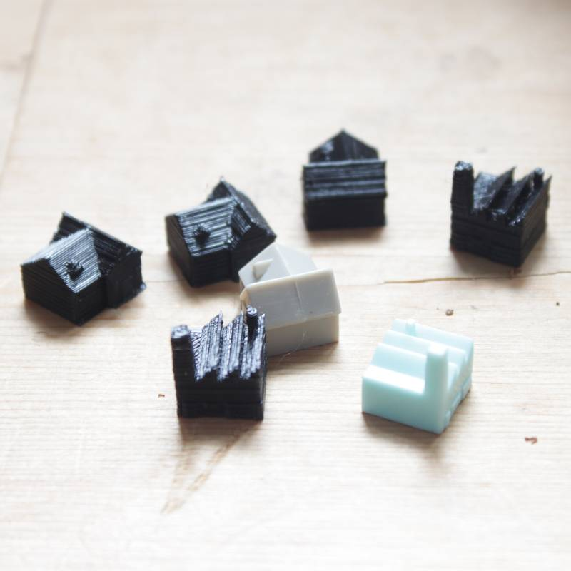 3D printed Monopoly City industrial and residential units