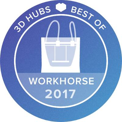 the BCN3d Sigma 3D printer awarded 3D hubs best workhorse 3d printer for 2017
