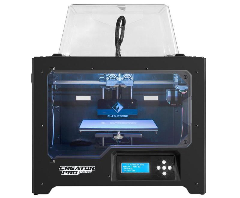 The flashforge creator pro features an enclosed print area