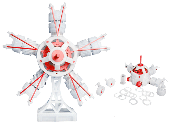 The Falsforge Dreamer can print with a large number of filaments to a high level of accuracy