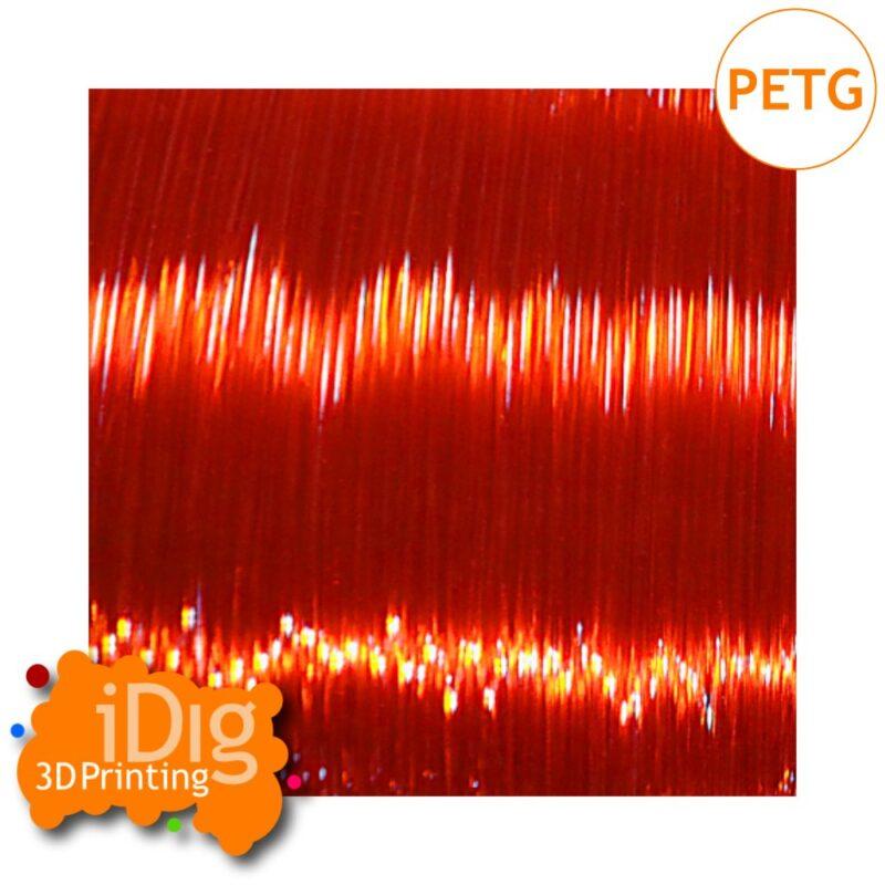 Transparent Orange PETG 3D printer filament